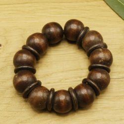 Armband - Ronde kraal - Donker hout - 1